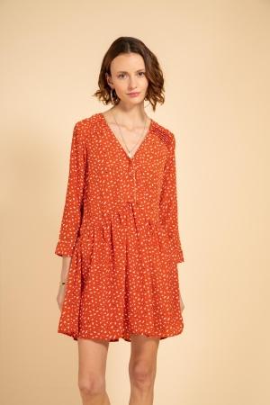 vestido estampado coral