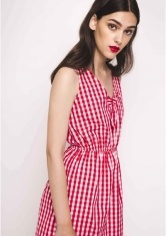 vestido cuadros rojos goma
